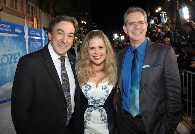 "From left, producer Peter Del Vecho, and directors Jennifer Lee and Chris Buck attend the world premiere of ""Frozen,"" on Tuesday, Nov. 19, 2013, in Los Angeles. (Photo by John Shearer/Invision/AP)"