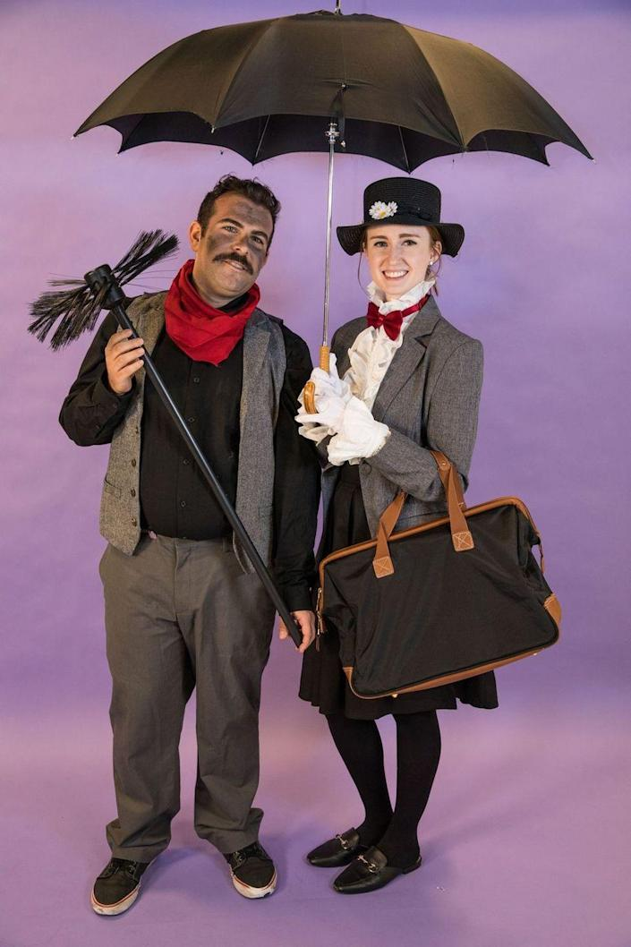 """<p>Pair a dark midi skirt and a blazer with a white button-down to transform yourself into Mary Poppins. For your partner, get dark-colored clothes and plenty of fake soot for their face. </p><p><a class=""""link rapid-noclick-resp"""" href=""""https://www.amazon.com/elope-Disney-Poppins-Classic-Costume/dp/B07L1BJFD7?tag=syn-yahoo-20&ascsubtag=%5Bartid%7C10070.g.1923%5Bsrc%7Cyahoo-us"""" rel=""""nofollow noopener"""" target=""""_blank"""" data-ylk=""""slk:SHOP FLOWERED HAT"""">SHOP FLOWERED HAT</a></p><p><a class=""""link rapid-noclick-resp"""" href=""""https://www.amazon.com/COOFANDY-Business-Skinny-Wedding-Waistcoat/dp/B07DD8GQBQ/?tag=syn-yahoo-20&ascsubtag=%5Bartid%7C10070.g.1923%5Bsrc%7Cyahoo-us"""" rel=""""nofollow noopener"""" target=""""_blank"""" data-ylk=""""slk:SHOP GRAY VEST"""">SHOP GRAY VEST</a></p>"""
