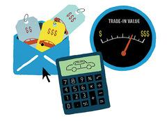 Price tag and calculator illustration