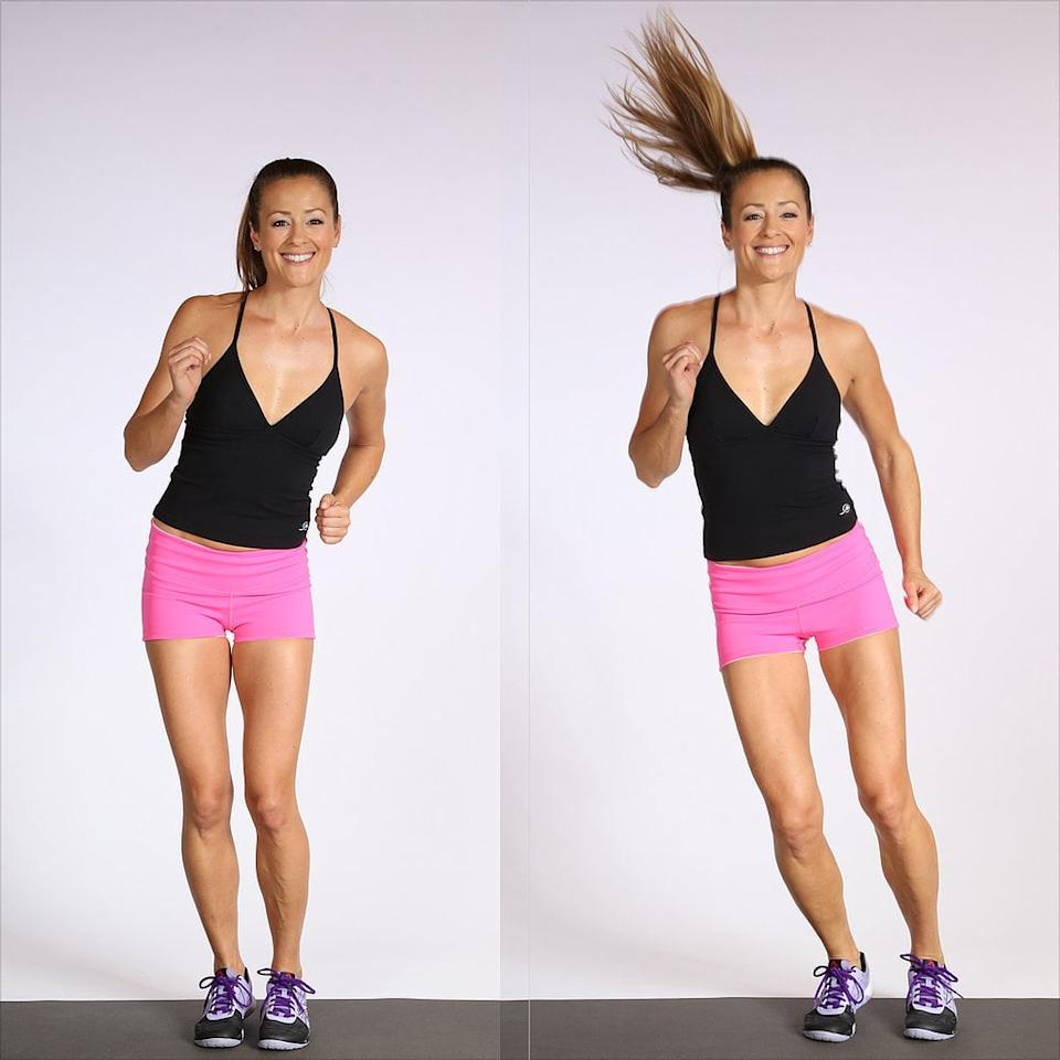 <ul> <li>Make small jumps side to side as if you are jumping over an invisible line.</li> <li>Keep your legs as close together as possible, and swing your arms to help you jump.</li> <li>Do 40 seconds of lateral bunny hops followed by a 20-second rest.</li> </ul>