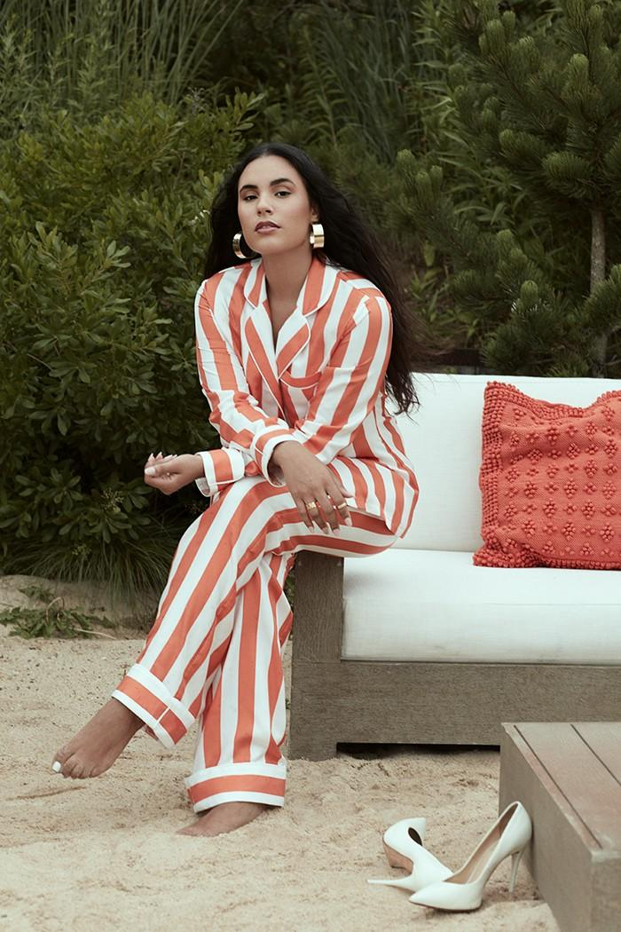 """A model wears the Madinina silk blouse and pants from Aliétte's resort collection. <span class=""""copyright"""">(Aliétte)</span>"""