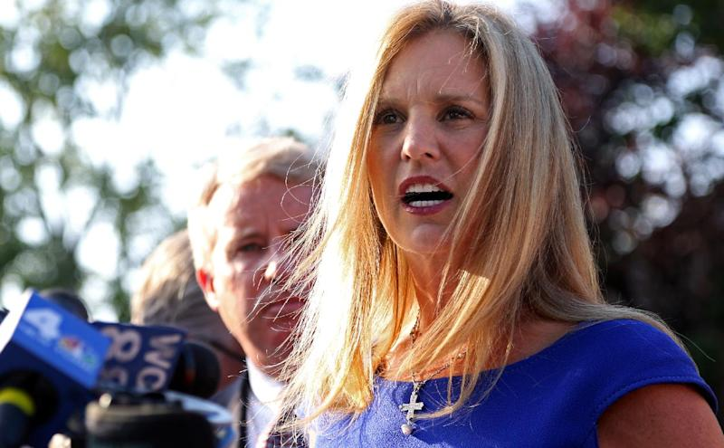 Kerry Kennedy, ex-wife of New York Gov. Andrew Cuomo, speaks after she appeared at the North Castle Justice Court in Armonk, N.Y. Tuesday, July 17, 2012. Kennedy was arrested Friday after state police said her Lexus struck a tractor-trailer on Interstate 684 north of New York. Police said she drove the damaged car off the highway before it became disabled. (AP Photo/Craig Ruttle)