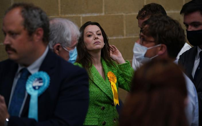 Sarah Green of the Liberal Democrats after being declared winner in the Chesham and Amersham by-election at Chesham Leisure Centre in Chesham, Buckinghamshire - Yui Mok/PA