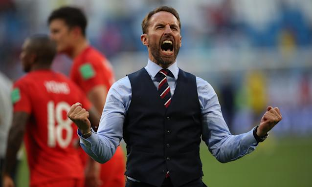 England manager Gareth Southgate celebrates during the World Cup quarter-final match between Sweden and England on 7 July.
