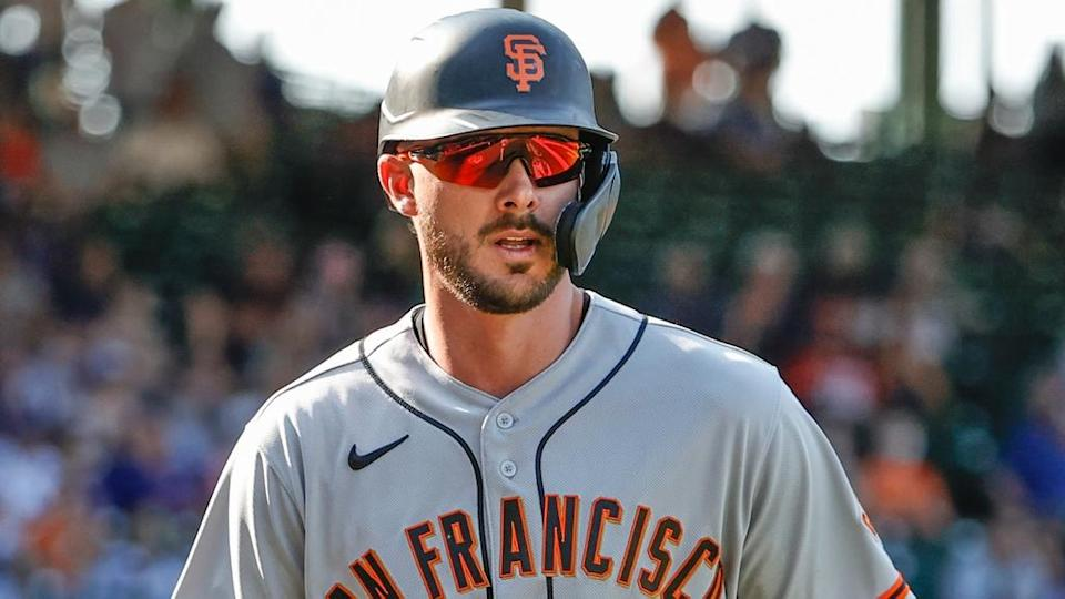 San Francisco Giants third baseman Kris Bryant (23) reacts after scoring against the Chicago Cubs during the eighth inning at Wrigley Field.