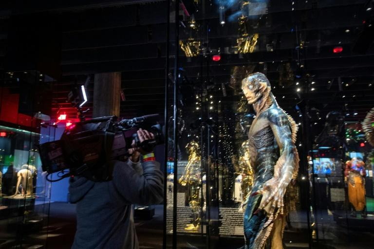 """Artifacts of cinema, from such film as """"The Shape of Water"""" are displayed inside the Academy Museum of Motion Pictures (AFP/VALERIE MACON)"""