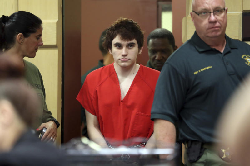 School shooting suspect Nikolas Cruz enters the courtroom for a hearing at the Broward Courthouse in Fort Lauderdale, Fla., Tuesday, May 28, 2019. Cruz, who faces the death penalty if convicted, is accused of killing 17 and wounding 17 in the February 2018 mass shooting at Marjory Stoneman Douglas High School in Parkland, Fla. (Amy Beth Bennett/South Florida Sun Sentinel via AP, Pool)