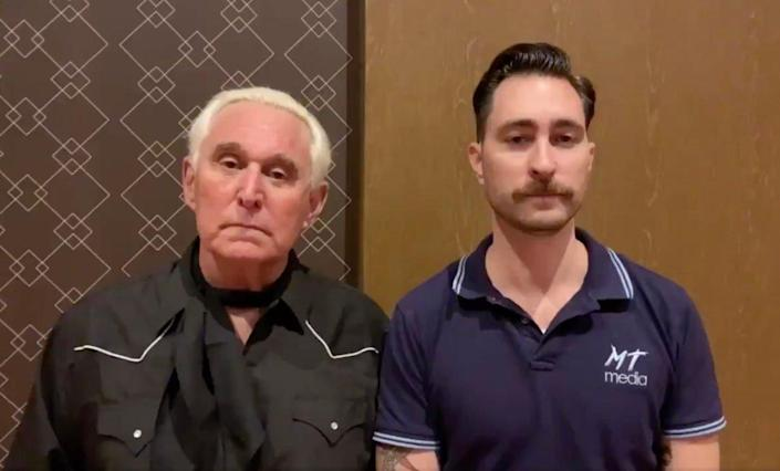 "<div class=""inline-image__caption""> <p>Roger Stone gave his endorsement to Adrian Tam's opponent, Proud Boys leader Nick Ochs.</p> </div> <div class=""inline-image__credit""> via Twitter </div>"