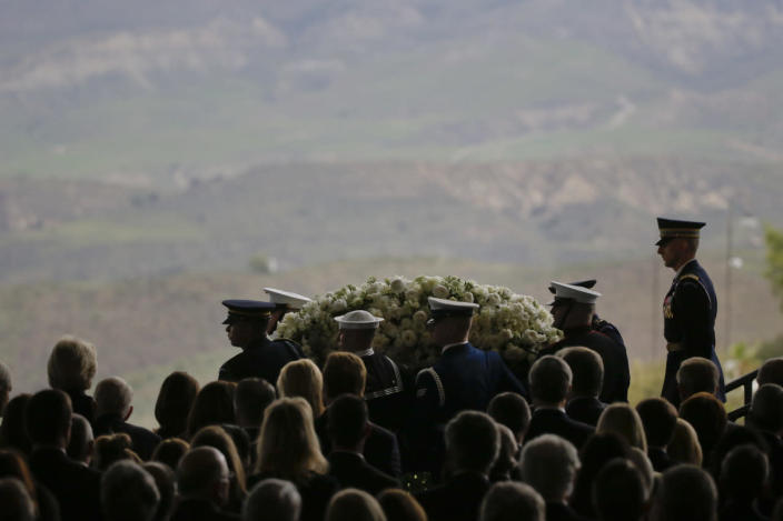 <p>The casket carrying former first lady Nancy Reagan is carried from the funeral service on March 11, 2016. <i>(Photo: Jae C. Hong/AP)</i></p>