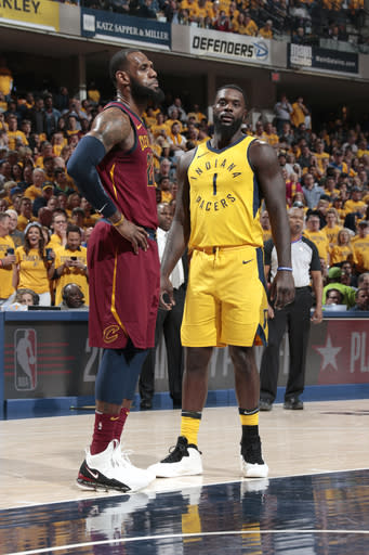 INDIANAPOLIS, IN - APRIL 27: LeBron James #23 of the Cleveland Cavaliers and Lance Stephenson #1 of the Indiana Pacers look on during the game between the two teams in Game Six of the NBA Playoffs on April 27, 2018 at Bankers Life Fieldhouse in Indianapolis, Indiana. (Photo by Ron Hoskins/NBAE via Getty Images)