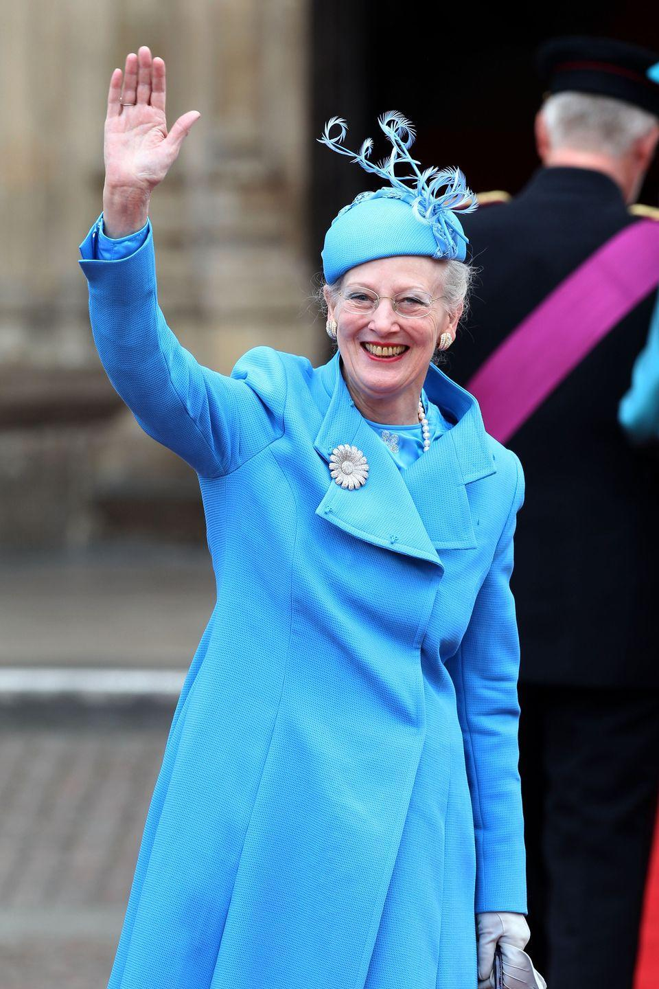 <p>Queen Margrethe II of Denmark in a jaunty blue cap at the royal wedding.</p>