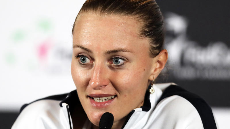 Kristina Mladenovic delivering a press conference for France.