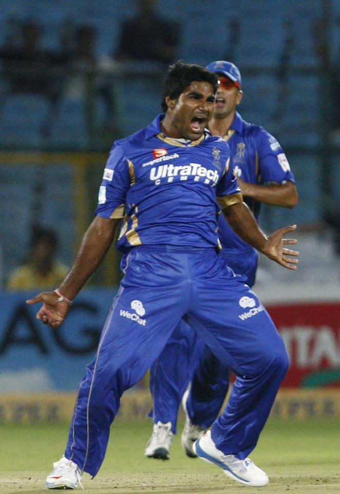 Rahul Shukla celebrates fall of a wicket during  CLT20 match between Rajasthan Royals and Otago Volts at Sawai Mansingh Stadium in Jaipur on Oct. 1, 2013. (Photo: IANS)