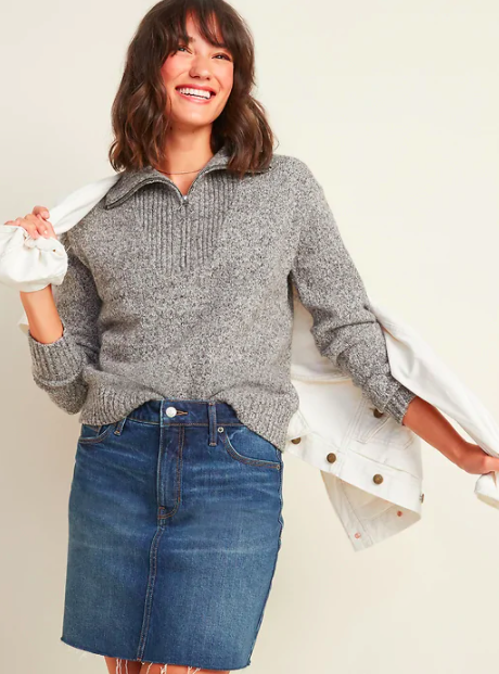 "This bouclé knit looks way more expensive than it actually is. Take cues from the model for styling inspo and pair it with a light-colored denim jacket (or <a href=""https://www.glamour.com/gallery/best-shackets?mbid=synd_yahoo_rss"" rel=""nofollow noopener"" target=""_blank"" data-ylk=""slk:shacket"" class=""link rapid-noclick-resp"">shacket</a>!) on your next coffee run. $44.99, Old Navy. <a href=""https://oldnavy.gap.com/browse/product.do?pid=5996980220000&vid#pdp-page-content"" rel=""nofollow noopener"" target=""_blank"" data-ylk=""slk:Get it now!"" class=""link rapid-noclick-resp"">Get it now!</a>"