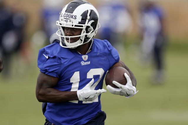 FILE - In this Monday, May 21, 2018 file photo,Los Angeles Rams' Brandin Cooks trains during a football practice in Thousand Oaks, Calif. The Los Angeles Rams have agreed to a five-year extension with wide receiver Brandin Cooks, Tuesday, July 17, 2018. (AP Photo/Chris Carlson, File)