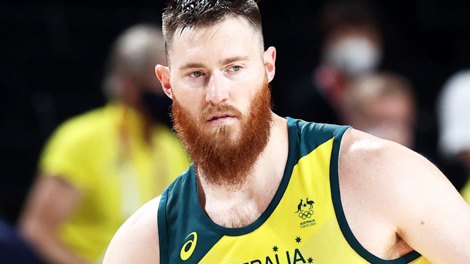 Aron Baynes, pictured here in action for the Boomers at the Tokyo Olympics.