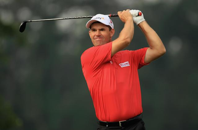 HUMBLE, TX - MARCH 30: Padraig Harrington of Ireland watches his tee shot on the ninth hole during the completion of the weather-delayed first round of the Shell Houston open at Redstone Golf Club on March 30, 2012 in Humble, Texas. (Photo by Scott Halleran/Getty Images)