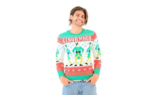"<p>Like maple syrup on a big plate of spaghetti, this Buddy the Elf top is one sweet treat. <strong><a href=""https://www.amazon.com/Elf-Ginormous-Ugly-Christmas-Sweater/dp/B015NF7OG4"" rel=""nofollow noopener"" target=""_blank"" data-ylk=""slk:Buy here"" class=""link rapid-noclick-resp"">Buy here</a></strong> </p>"