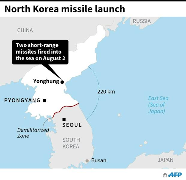 Map showing Yonghung on the east coast of North Korea, from where two short-range missiles were fired into the sea on Friday (AFP Photo/)