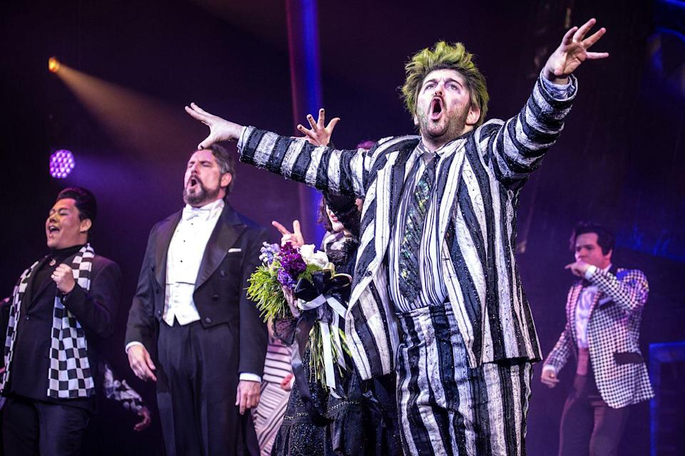 """<p>The newest adaptation to hit Broadway finds Alex Brightman taking on the titular role of Beetlejuice, a character previously brought to life by Micheal Keaton in the hit 1988 Tim Burton film. In the stage show, a recently deceased couple haunt the new occupants of their former home, with the aid of a ghoulish goofball. <em>Beetlejuice</em> the musical celebrated its official Broadway opening on April 25, 2019. Tickets are still available, but sell out quicker than one can say, """"Beetlejuice, Beetlejuice, Beetlejuice!""""</p>"""