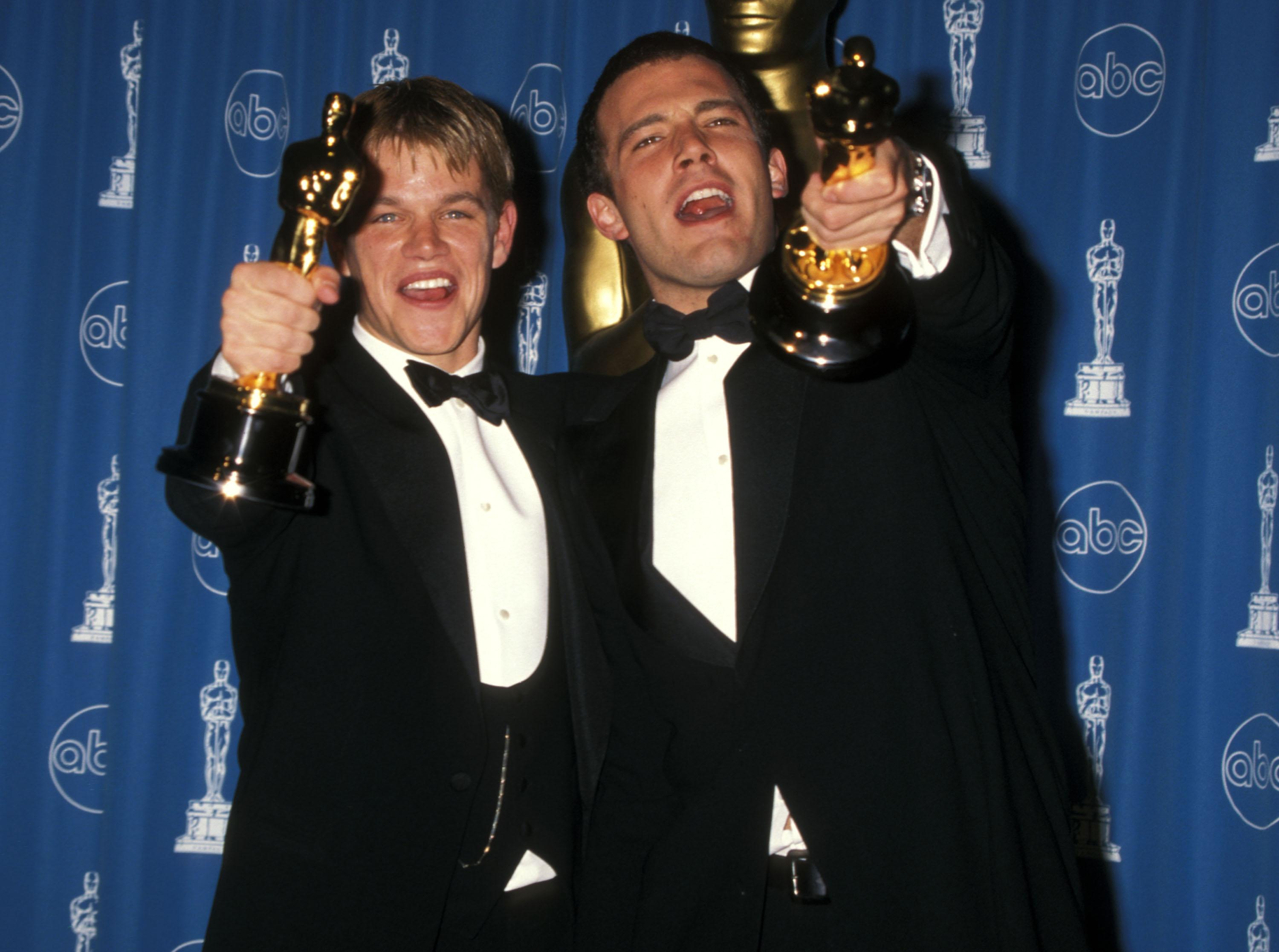 LOS ANGELES - MARCH 23: Actor Matt Damon and actor Ben Affleck attend the 70th Annual Academy Awards on March 23, 1998 at Shrine Auditorium in Los Angeles, California. (Photo by Ron Galella, Ltd./Ron Galella Collection via Getty Images)