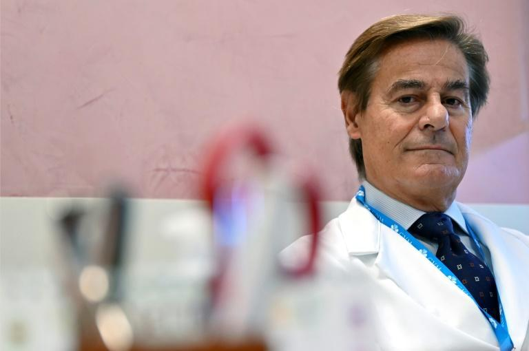 Professor Roberto Mezzanotte says unvaccinated patients are more likely to need intubation and assisted breathing when struck down by Covid-19 (AFP/Alberto PIZZOLI)