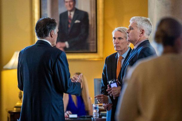 PHOTO: Republican Senators Rob Portman, Bill Cassidy and Mitt Romney wait to meet with Senate Minority Leader Mitch McConnell at his office in the U.S. Capitol in Washington, D.C., July 28, 2021. (Shawn Thew/EPA via Shutterstock)
