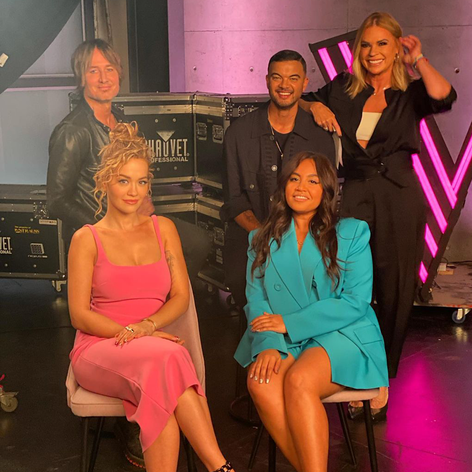 Sonia Kruger with The Voice coaches.