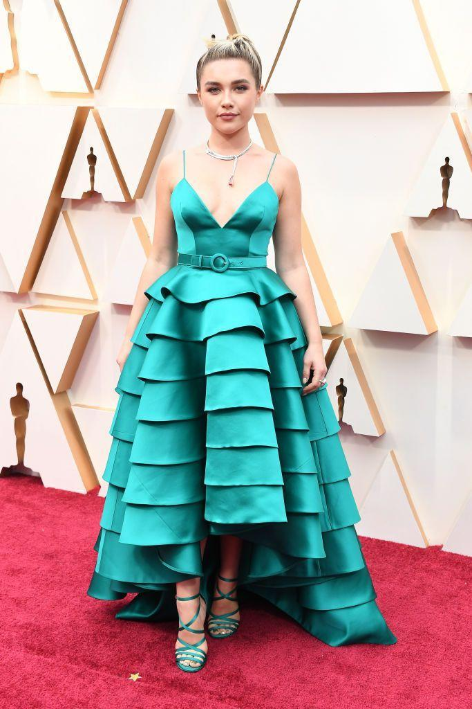 <p>Pugh wore an emerald green gown by Louis Vuitton to the Oscars. </p>