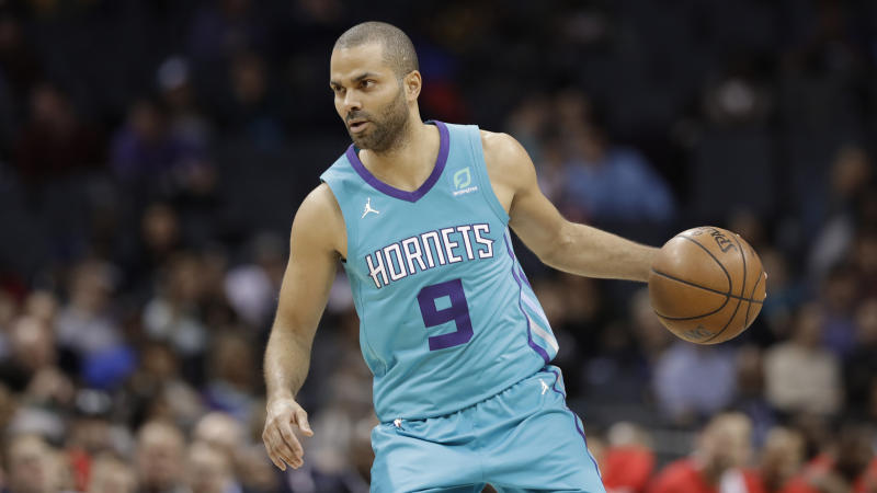 French Basketball Star Tony Parker stops