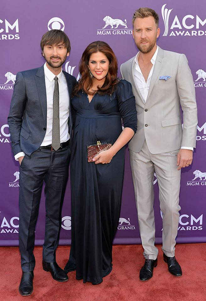 LAS VEGAS, NV - APRIL 07:  (L-R) Musician Dave Haywood, singer Hillary Scott and musician Charles Kelley of Lady Antebellum attend the 48th Annual Academy of Country Music Awards at the MGM Grand Garden Arena on April 7, 2013 in Las Vegas, Nevada.  (Photo by Rick Diamond/ACMA2013/Getty Images for ACM)