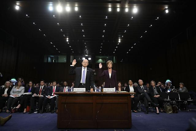<p>Former Director of National Intelligence James Clapper (L) and former U.S. Deputy Attorney General Sally Yates are sworn in before testifying to the Senate Judicary Committee's Subcommittee on Crime and Terrorism in the Hart Senate Office Building on Capitol Hill May 8, 2017 in Washington, DC. Before being was fired by U.S. President Donald Trump, Yates testified that she had warned the White House about contacts between former National Security Advisor Michael Flynn and Russia that might make him vulnerable to blackmail. (Chip Somodevilla/Getty Images) </p>