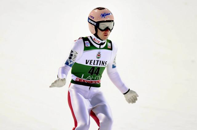 Lahti Ski Games - FIS Nordic World Cup - Men's Ski Jumping - Lahti, Finland - March 4, 2018. Stefan Kraft of Austria competes. LEHTIKUVA/Markku Ulander via REUTERS ATTENTION EDITORS - THIS IMAGE WAS PROVIDED BY A THIRD PARTY. NO THIRD PARTY SALES. NOT FOR USE BY REUTERS THIRD PARTY DISTRIBUTORS. FINLAND OUT. NO COMMERCIAL OR EDITORIAL SALES IN FINLAND.