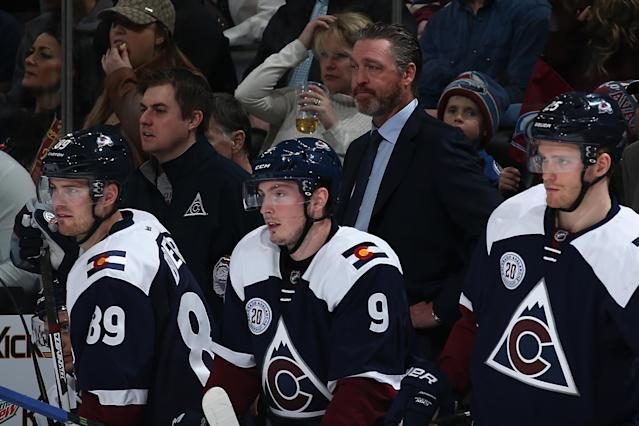 DENVER, CO - APRIL 03: Head coach Patrick Roy of the Colorado Avalanche looks on from the bench behind Mikkel Boedker #89, Matt Duchene #9 and Mikhail Grigorenko #25 of the Colorado Avalanche as they face the St. Louis Blues at Pepsi Center on April 3, 2016 in Denver, Colorado. (Photo by Doug Pensinger/Getty Images)