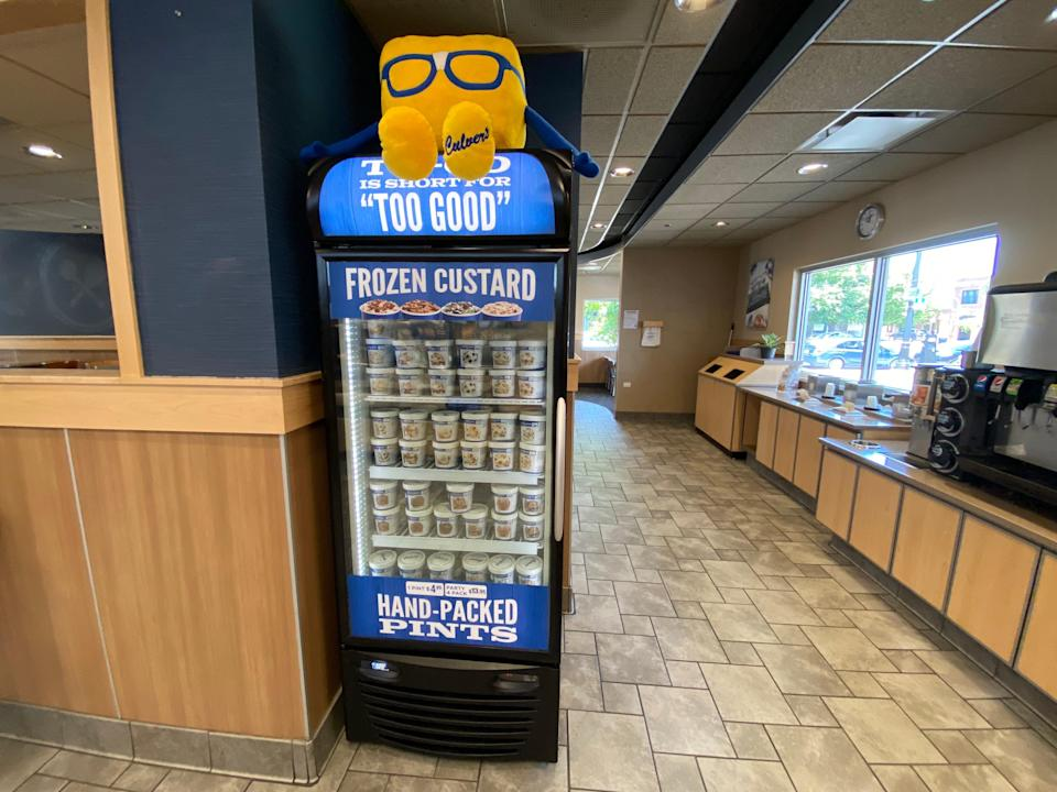 The fridge filled with frozen custard at Culver's