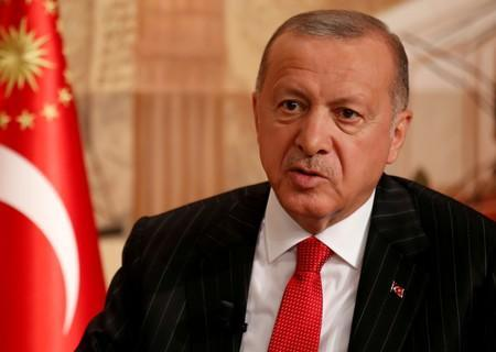 FILE PHOTO: Turkish President Tayyip Erdogan speaks during an interview with Reuters in Istanbul