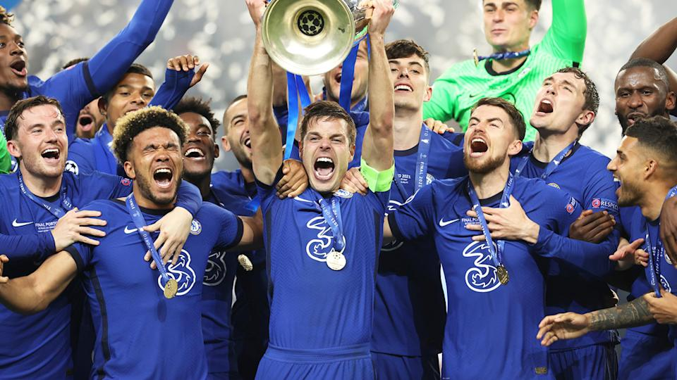 Chelsea celebrate winning the 2021 Champions League title after beating Manchester City 1-0 in the final on Saturday. (Photo by Alexander Hassenstein - UEFA/Anadolu Agency via Getty Images)