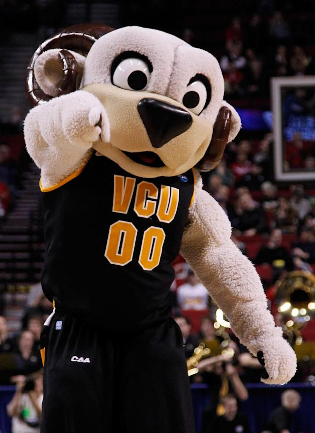 PORTLAND, OR - MARCH 15: The Virginia Commonwealth Rams mascot performs on the court during a break in the game against the Wichita State Shockers in the second round of the 2012 NCAA men's basketball tournament at Rose Garden Arena on March 15, 2012 in Portland, Oregon. (Photo by Jonathan Ferrey/Getty Images)