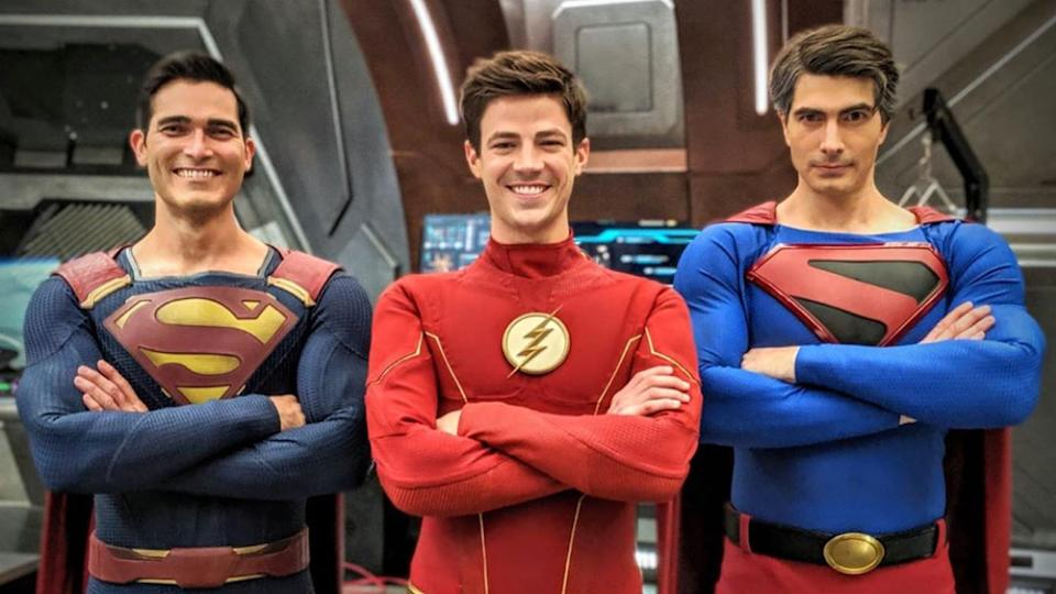 Tyler Hoechin, Grant Gustin and Brandon Routh suit up for Arrowverse crossover event 'Crisis On Infinite Earths'. (Credit: Instagram/Brandon Routh)
