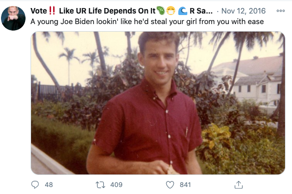 "Image of Tweet reading: ""A young Joe Biden lookin' like he'd steal your girl from you with ease."""