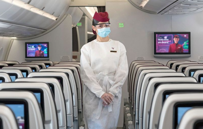 Qatar Airways cabin crew are kitted out in PPE: Qatar Airways