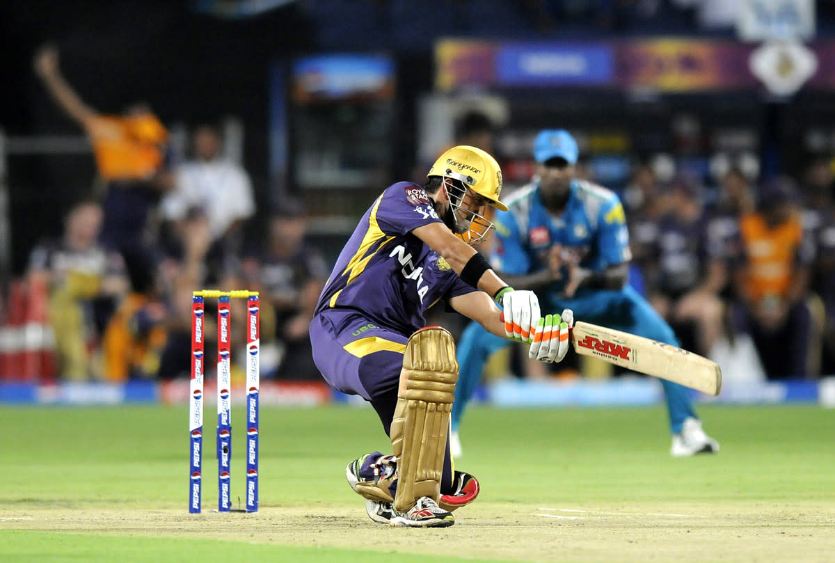 Gautam Gambhir captain of Kolkata Knight Riders bats during match 56 of the Pepsi Indian Premier League ( IPL) 2013  between The Pune Warriors India and the Kolkata Knight Riders held at the Subrata Roy Sahara Stadium, Pune on the 9th May 2013. (BCCI)