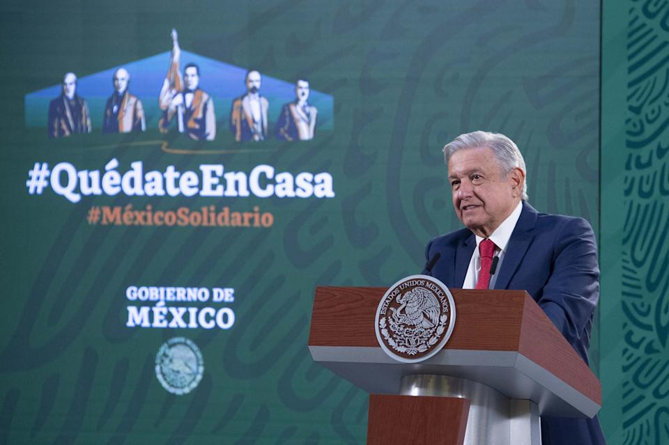MEXICO CITY, Jan. 25, 2021 -- Mexico's President Andres Manuel Lopez Obrador speaks during a press conference in Mexico City, Mexico on Jan. 21, 2021. Mexico's President Andres Manuel Lopez Obrador announced Sunday on Twitter that he has tested positive for COVID-19. (Photo by Xinhua via Getty) (Xinhua/Xinhua via Getty Images)
