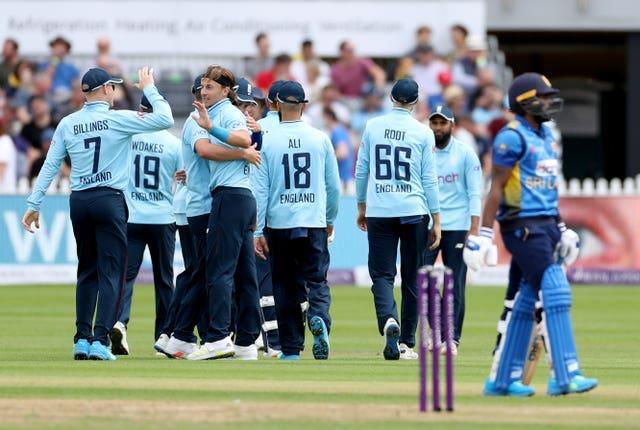 Tom Curran (centre) took four wickets for England before their final one-day international against Sri Lanka in Bristol was abandoned due to rain (Bradley Collyer/PA).