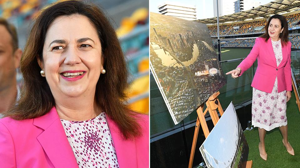 Pictured here, QLD Premier Annastacia Palaszczuk discusses the exciting Gabba redevelopment plan.