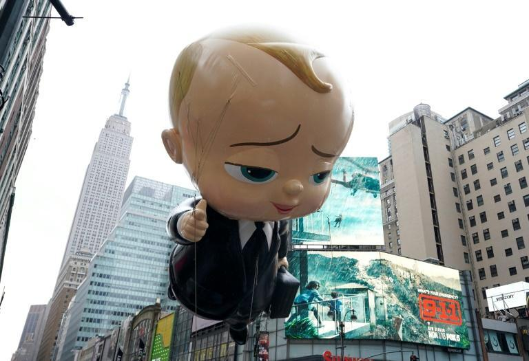"""The """"Boss Baby"""" balloon during the Macy's Thanksgiving Day Parade in New York on November 26, 2020"""