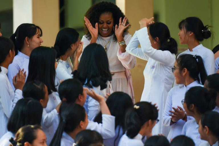 The promotion of girls' schooling has been the cornerstone of Michelle Obama's charitable work (AFP Photo/Nhac NGUYEN)