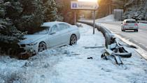<p>A car which had crashed off the A9 at Lynbeg near Inverness after snow fell across the Highlands </p>