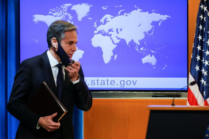 New U.S. Secretary of State Antony Blinken holds first press briefing at the State Department in Washington