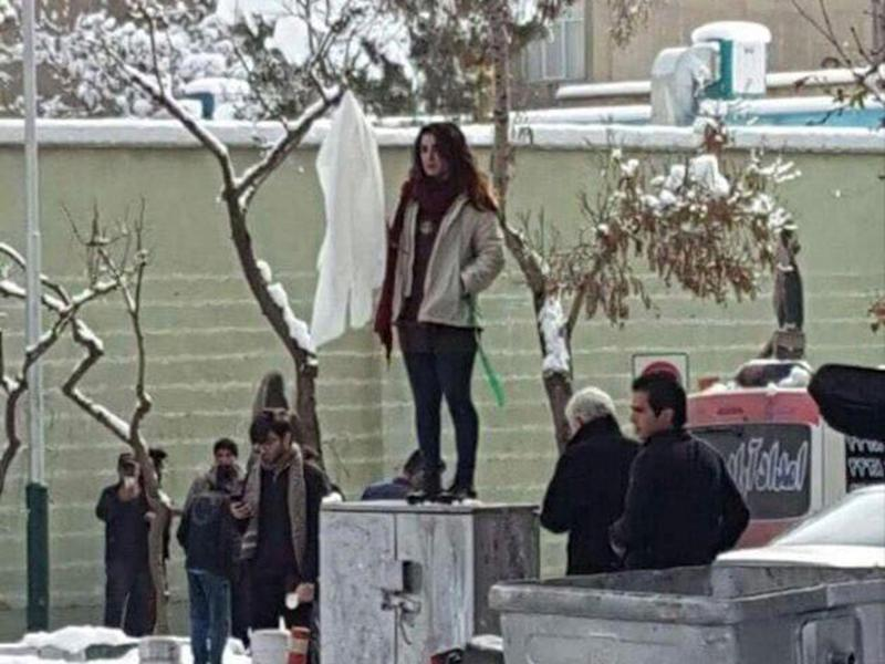 Protest thought to be inspired by Narges Hosseini, who was detained in January within 10 minutes of removing her veil in apparent solidarity with 'Girl of Enghelab Street'